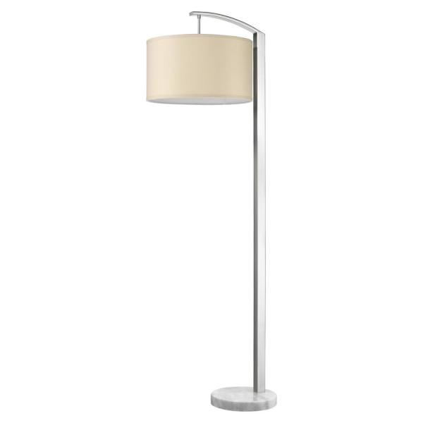 Station 64 in. 1-Light Brushed Nickel Floor Lamp With Coarse Ivory Linen Shade