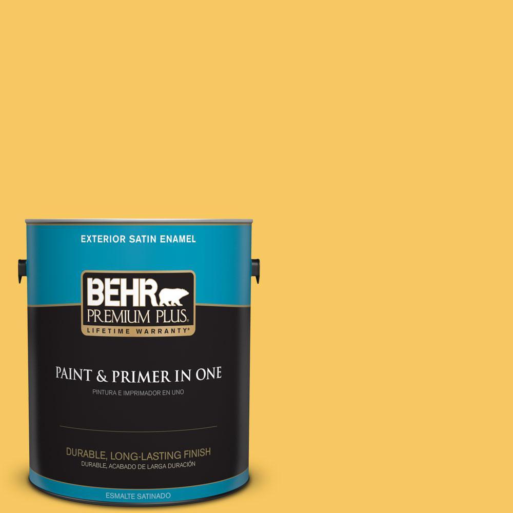 BEHR Premium Plus 1-gal. #P280-5 Little Sun Dress Satin Enamel Exterior Paint