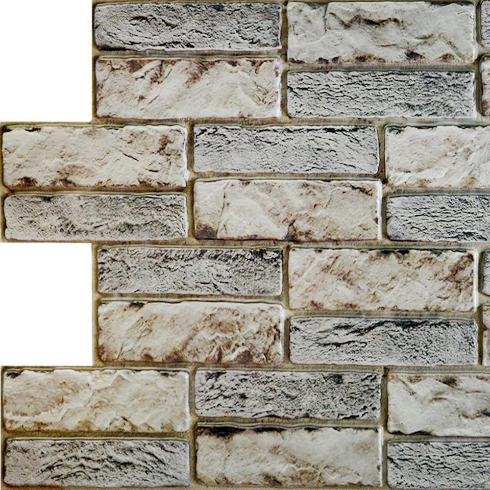 3D Falkirk Retro 20/1000 in. x 38 in. x 19 in. Dark Beige Grey Faux Old Brick PVC Wall Panel