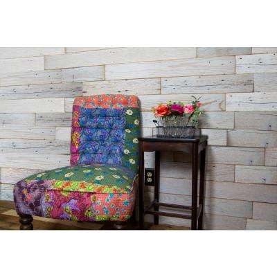 30 Sq Ft 5 1/2 in. Width Weathered White Reclaimed Barnwood Wall Applique Planks Stick and Peel Paneling Kit