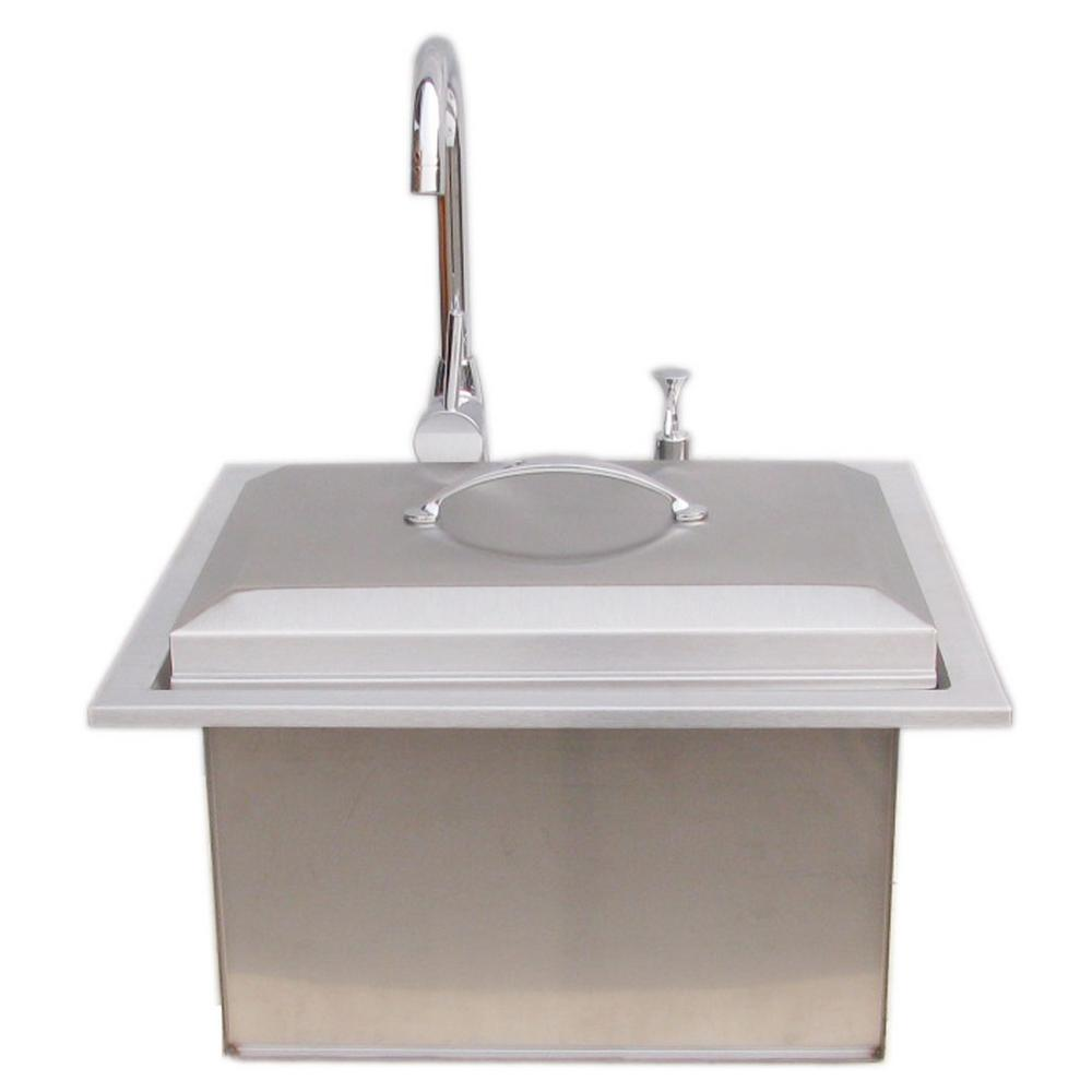 Hot and cold water faucet for outdoor sink - Sunstone Premium Drop In Sink With Hot And Cold Water Faucet And Cutting Board