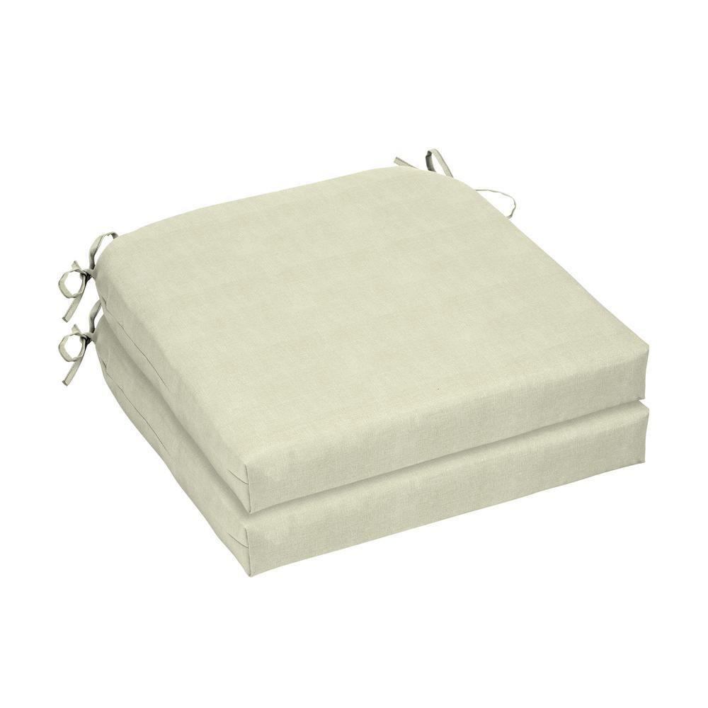 CushionGuard Oatmeal Square Outdoor Seat Cushion (2-Pack)