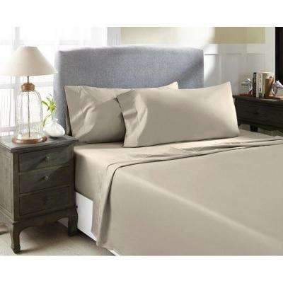 Taupe T1500 Solid Combed Cotton Sateen Queen Sheet Set