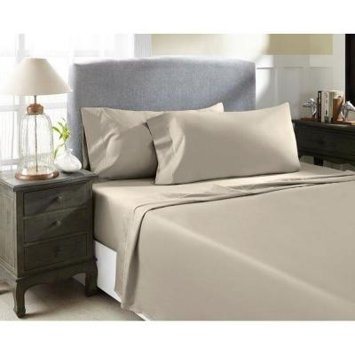 Hotel Concepts 4-Piece Taupe Solid 1500 Thread Count Cotton Queen Sheet Set