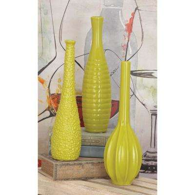 12 in. Lacquered Yellow and Gold Ceramic Decorative Vases (Set of 3)