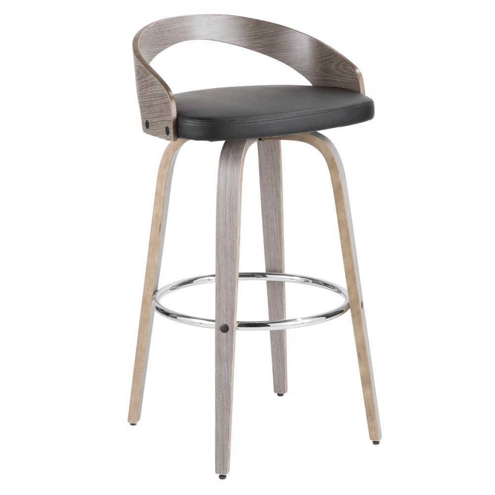 lumisource grotto 30 in light grey wood and black faux leather bar stool bs grt lgy bk the. Black Bedroom Furniture Sets. Home Design Ideas