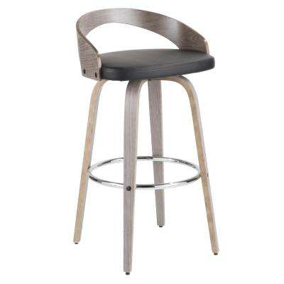 Grotto 30 in. Light Grey Wood and Black Faux Leather Bar Stool
