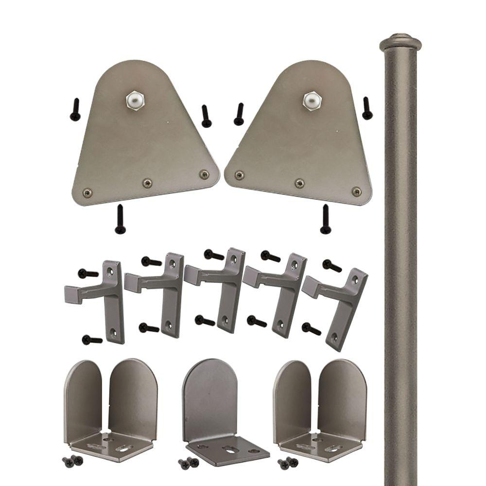 Quiet Glide 3/4 in. - 1-1/2 in. Triangle Satin Nickel Rolling Door Hardware Kit