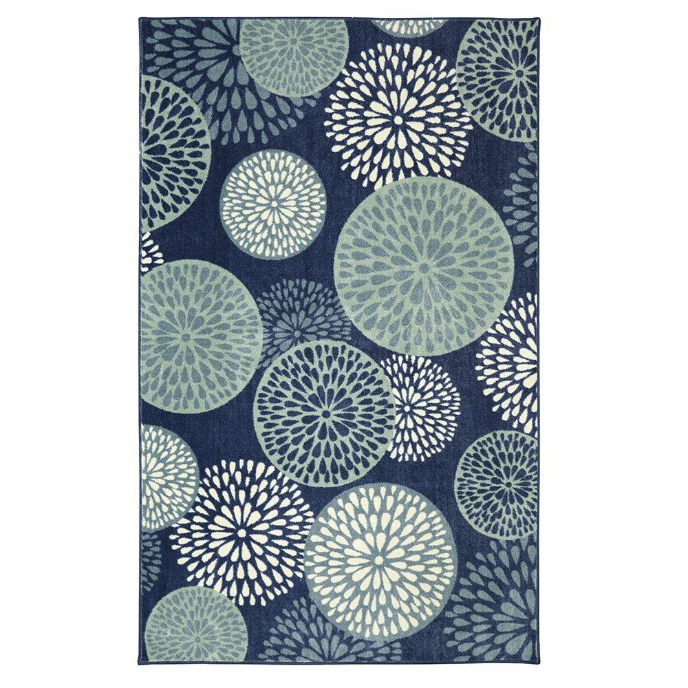 Mohawk home foliage friends blue 5 ft x 8 ft indoor area rug