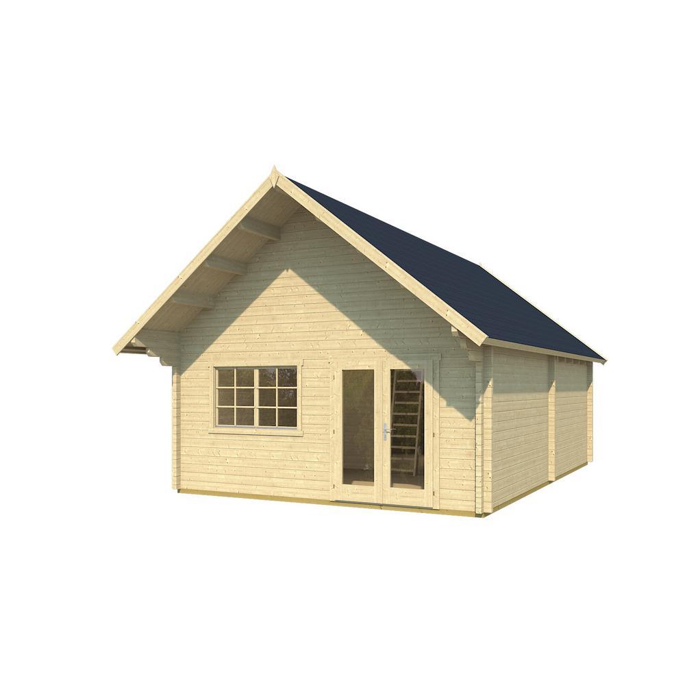 Hud-1 EZ Buildings Metra 16 ft. x 24 ft. x 14 ft. Log Cabin Style Studio Guest Hobby Work Space Pool House Building Kit