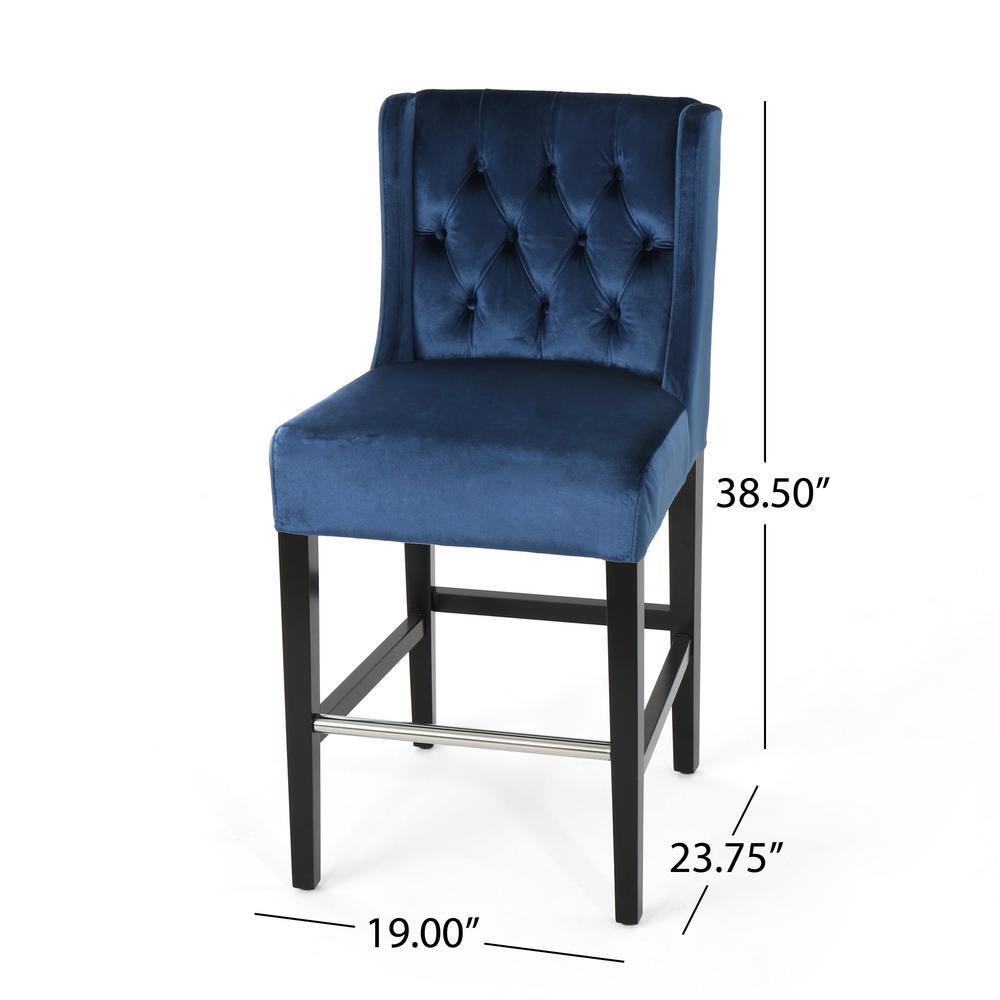 Excellent Noble House Leander Modern 26 In Tufted Back Cobalt Velvet Alphanode Cool Chair Designs And Ideas Alphanodeonline
