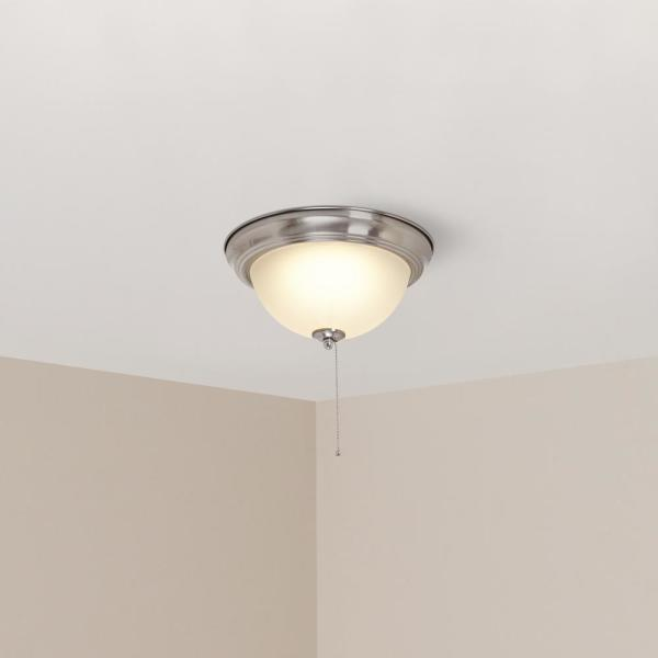 Hampton Bay 11 In 60 Watt Equivalent Brushed Nickel Integrated Led Flush Mount With Pull Chain And Glass Shade Iso8011l The Home Depot
