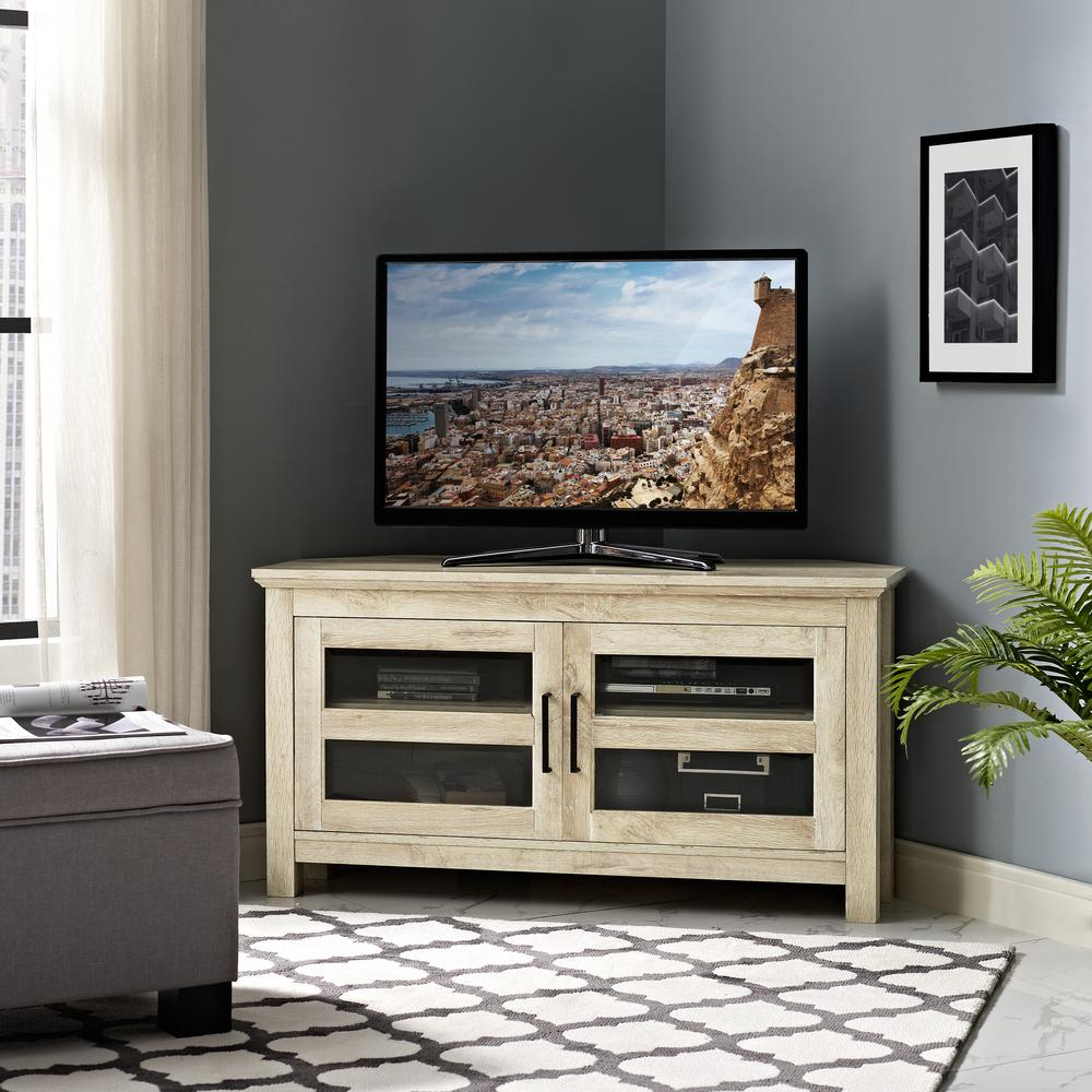 Walker Edison Furniture Company 44 In. White Oak Corner Wood TV Console