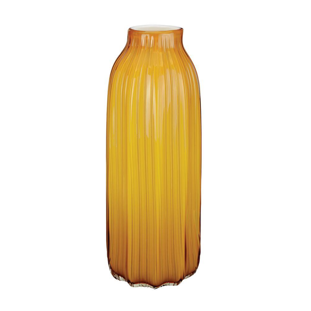 15 in. Corn Husk Glass Decorative Vase in Yellow
