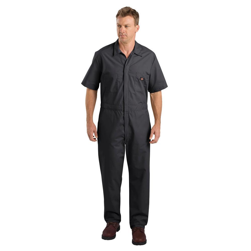 Men Medium Short Sleeve Black Coverall