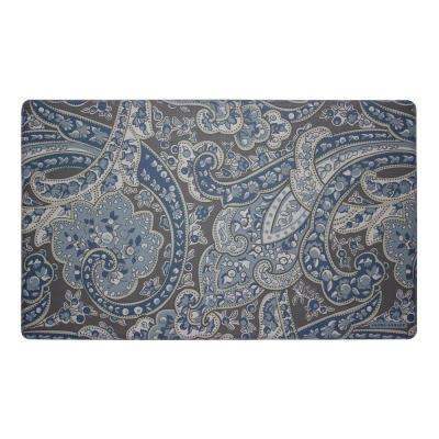 Vanessa Navy 20 in. x 32 in. Memory Foam Kitchen Mat