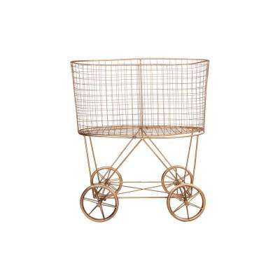 Copper Metal Vintage Rolling Laundry Basket with Wheels