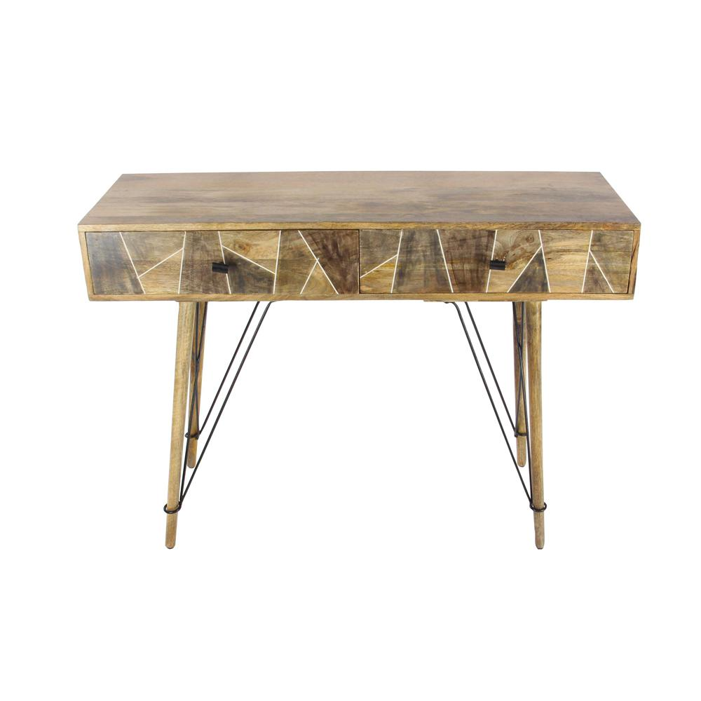 Litton Lane Rustic Wood And Metal Geometric Console Table