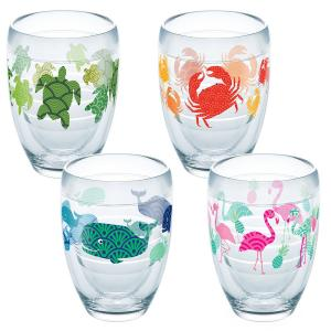 Click here to buy Tervis Flamingo Whale Turtle Crab 9 oz. Double-Walled Tritan Stemless Wine Glass (4-Pack) by Tervis.