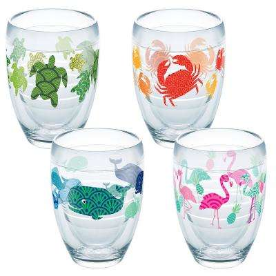 Flamingo Whale Turtle Crab 9 oz. Double-Walled Tritan Stemless Wine Glass (4-Pack)