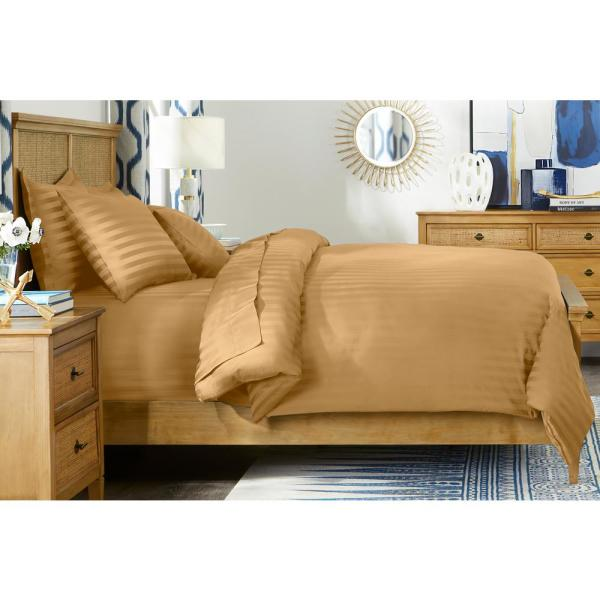 500 Thread Count Egyptian Cotton Sateen 3-Piece King Duvet Cover Set in Mustard Seed Damask