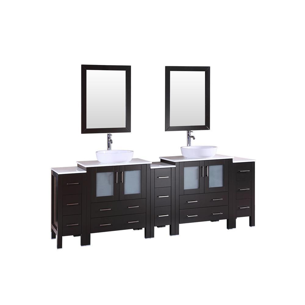 Bosconi 96 in. Double Vanity in Espresso w/ Pheonix Stone Vanity Top in White w/ White Basin and Mirror