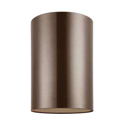 Outdoor Cylinders 9 in. Bronze 1-Light Outdoor Wall Ceiling Flushmount with LED Bulb