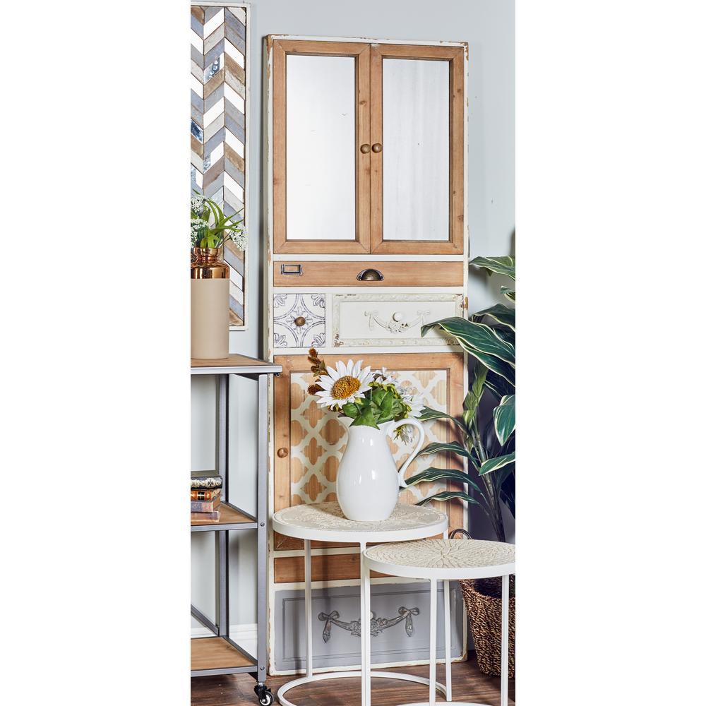 Rectangular Distressed White Dresser Wall Mirror Decor