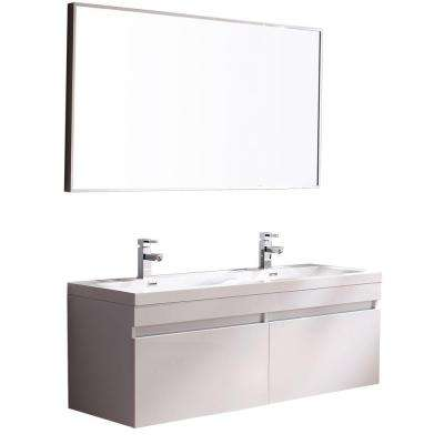 Largo 57 in. Double Vanity in White with Acrylic Vanity Top in White and Mirror