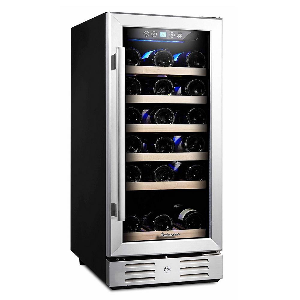 Kalamera 15 in. Built-In 30-Bottle Single Zone Wine Cooler Compressor