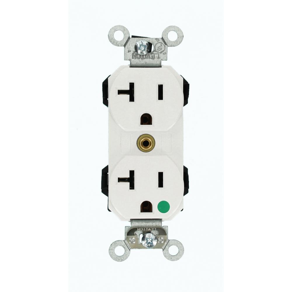 20 Amp Lev-Lok Modular Wiring Device Hospital Grade Extra Heavy Duty Self Grounding Duplex Outlet, White