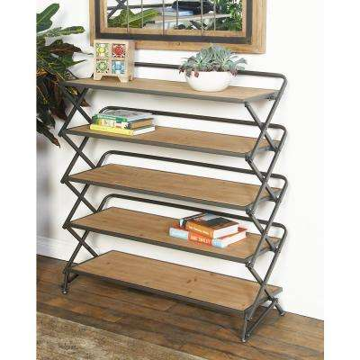 Light Brown Accordion-Framed Long Rectangular 5-Tier Shelf