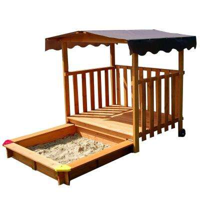 Gaspo 52 in. W x 55 in. H x 52 in. Playhouse/Sandbox with Rolling Sandbox Cover