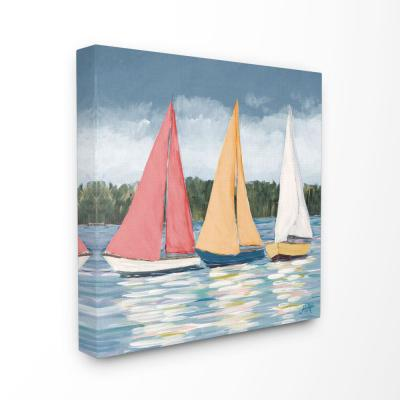 """17 in. x 17 in. """"Sailboats Beach Ocean Coast Painting"""" by Julie DeRice Canvas Wall Art"""