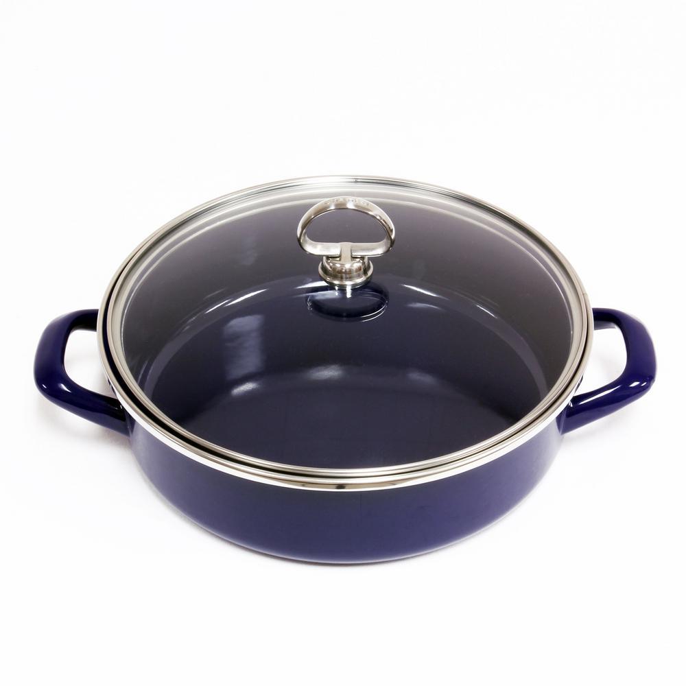 Chantal 3 Qt. Enamel-On-Steel Saute Pan with Glass Lid in Cobalt
