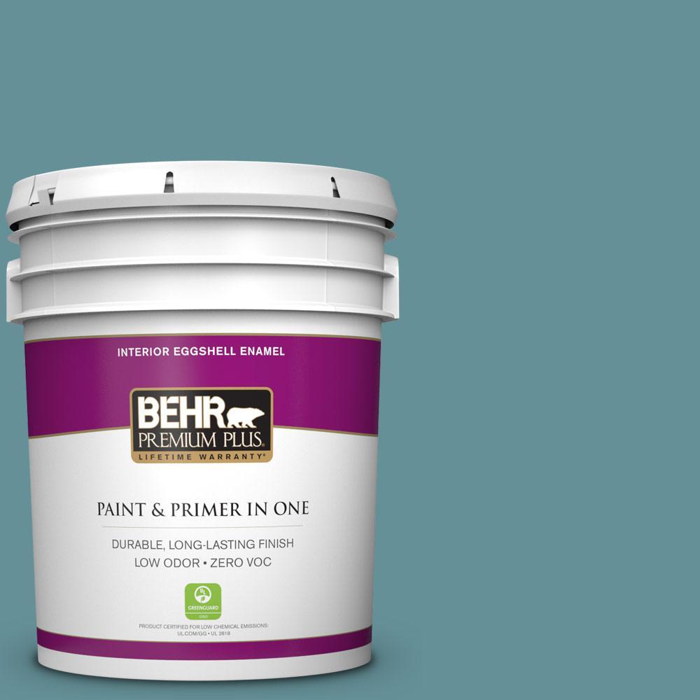 BEHR Premium Plus 5-gal. #510F-5 Bayside Zero VOC Eggshell Enamel Interior Paint