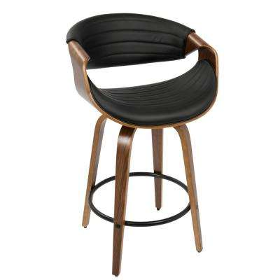 Symphony Mid-Century Walnut and Black Modern Counter Stool Faux Leather