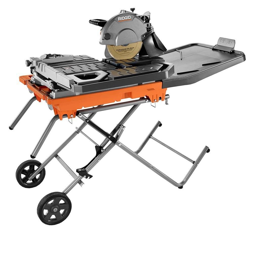 Ridgid 10 in wet tile saw with stand r4092 the home depot wet tile saw with stand greentooth Choice Image