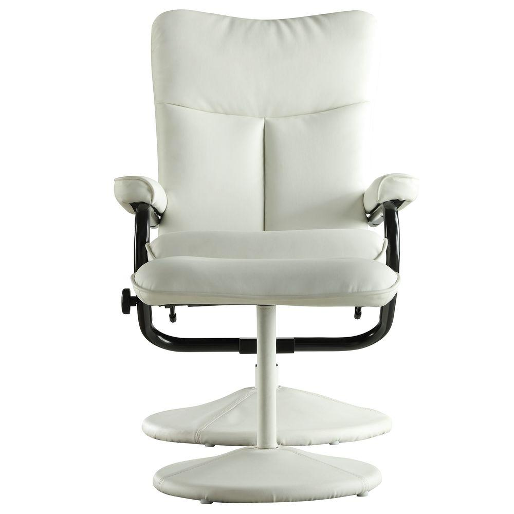 homesullivan hawkins white faux leather swivel chair with ottoman 408555wht 13a the home depot. Black Bedroom Furniture Sets. Home Design Ideas