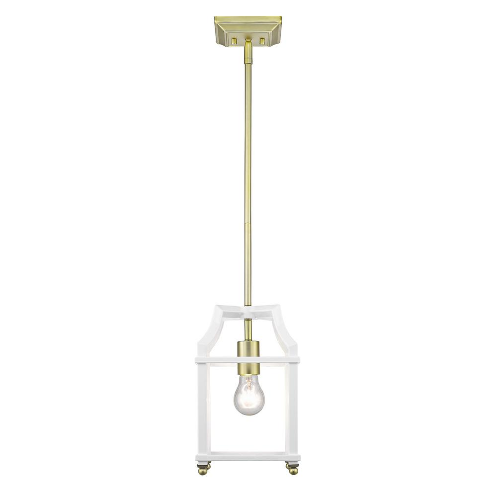 Leighton 1-Light Satin Brass and White Pendant Light