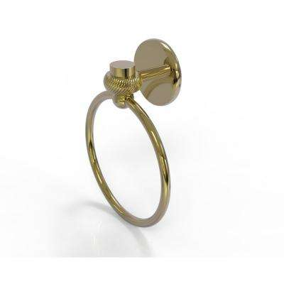 Satellite Orbit One Collection Towel Ring with Twist Accent in Unlacquered Brass