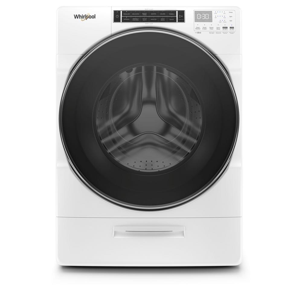 Whirlpool 5 0 Cu Ft High Efficiency White Stackable Front Load Washing Machine With Go Xl Dispenser