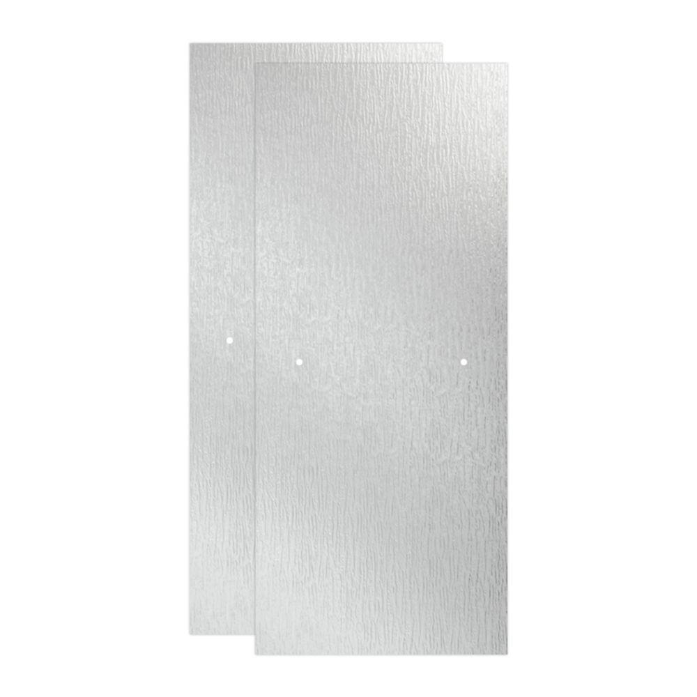 29-1/32 in. x 67-3/4 in. x 3/8 in. Frameless Sliding Shower Door Glass Panels in Rain (1-Pair for 50-60 in. Doors)