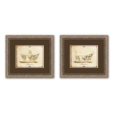 """15.5 in. x 17.5 in. """"Baignoire"""" Matted Framed Wall Art (Set of 2)"""
