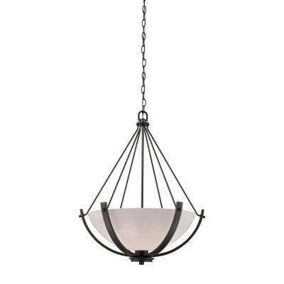 Casual Mission 3-Light Oil Rubbed Bronze Chandelier With White Lined Glass Shade