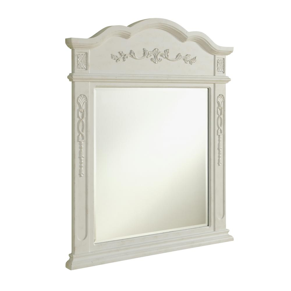 Abbott 32 in. Traditional Mirror with Antique White MDF Frame ...