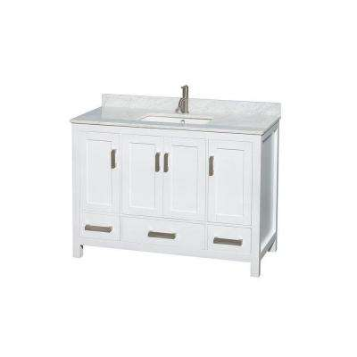 Sheffield 48 in. Vanity in White with Marble Vanity Top in Carrara White