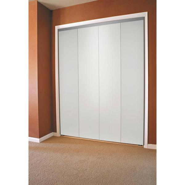 Impact Plus 84 In X 80 In Smooth Flush Primed Interior Closet Solid Core Mdf Bi Fold Door With Chrome Trim Bfp344 8480c The Home Depot