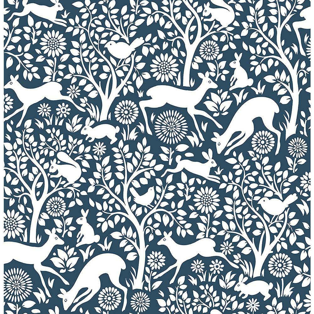 Meadow Navy Animals Wallpaper