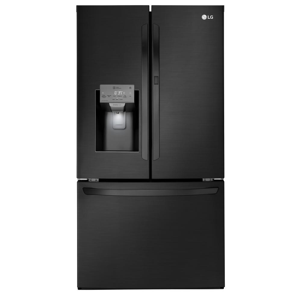 LG Electronics 27.7 cu. ft. French Door Smart Refrigerator with Door-in-Door and WiFi Enabled in Matte Black Stainless Steel